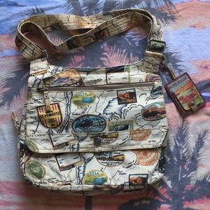 Fossil World Traveler Crossbody Canvas Bag EUC